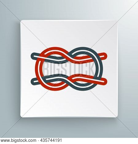 Line Nautical Rope Knots Icon Isolated On White Background. Rope Tied In A Knot. Colorful Outline Co