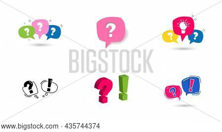 Big Set Icon Bubble With Question Mark And Exclamation Mark.