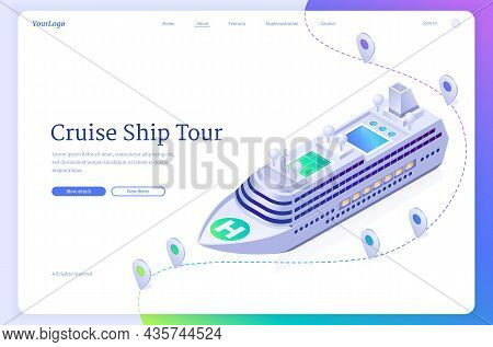 Cruise Ship Tour Isometric Landing Page. Sea Liner Travel Ticket Booking Service, Modern Boat Ocean