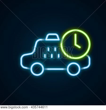 Glowing Neon Line Taxi Waiting Time Icon Isolated On Black Background. Car Deadline, Schedule Ride.
