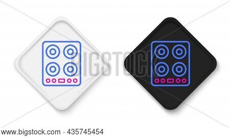 Line Gas Stove Icon Isolated On White Background. Cooktop Sign. Hob With Four Circle Burners. Colorf