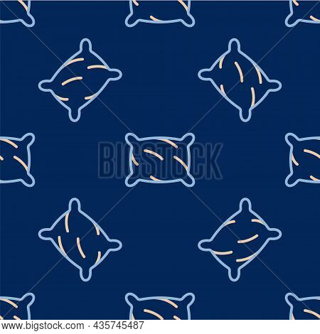 Line Rectangular Pillow Icon Isolated Seamless Pattern On Blue Background. Cushion Sign. Orthopedic