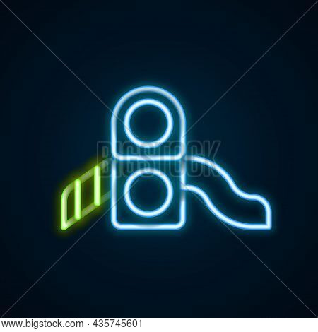 Glowing Neon Line Slide Playground Icon Isolated On Black Background. Childrens Slide. Colorful Outl