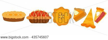 Pies Vector Illustration.thanksgiving And Holiday Pumpkin Pie