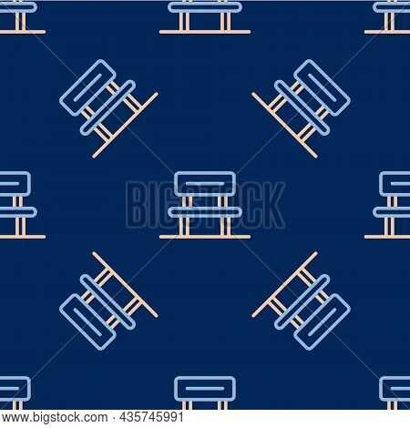 Line Waiting Hall Icon Isolated Seamless Pattern On Blue Background. Vector
