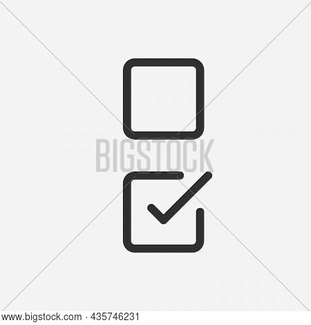 Check List Button Icon. Check Mark In Square Box Blank And Filled. Correct Symbol. Stock Vector Illu