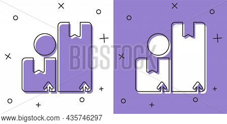 Set Carton Cardboard Box Icon Isolated On White And Purple Background. Box, Package, Parcel Sign. De