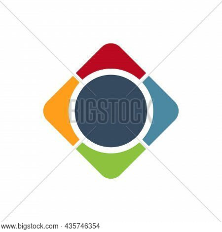 Multicolored Frame Logo Template. Rhombus With Four Arrows In Different Directions. Stock Vector Ill