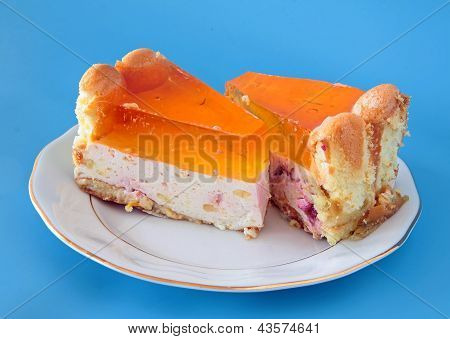 tasty layer-cake with cheese,oranges and gelly