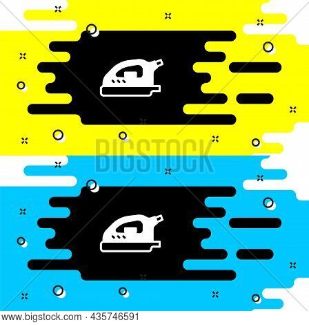 White Electric Iron Icon Isolated On Black Background. Steam Iron. Vector