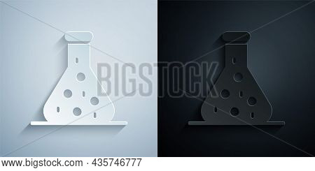 Paper Cut Test Tube And Flask Chemical Laboratory Test Icon Isolated On Grey And Black Background. L