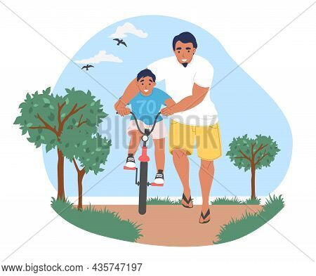 Happy Dad Teaching His Son To Ride Bicycle In Park, Vector Illustration. Parent Child Relationship.