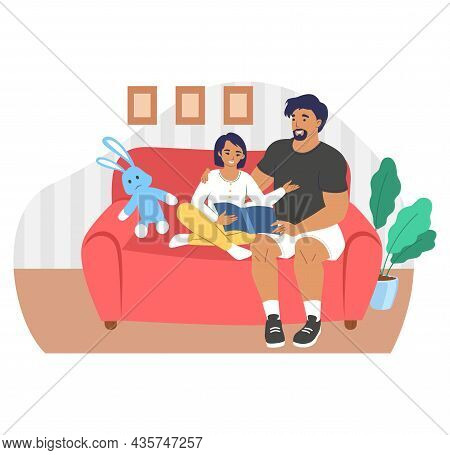 Happy Father Reading Book With Daughter Sitting On Sofa, Flat Vector Illustration. Parent Child Rela