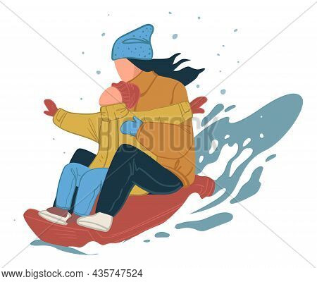 Winter Activities For Family, Mom And Kid On Sled