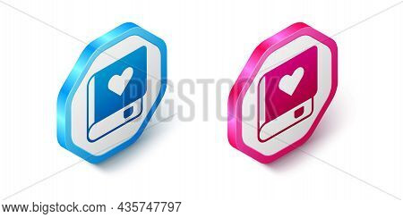 Isometric Romance Book Icon Isolated On White Background. Hexagon Button. Vector