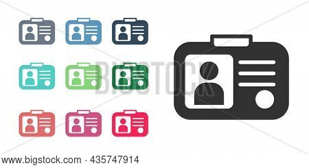 Black Taxi Driver License Icon Isolated On White Background. Set Icons Colorful. Vector