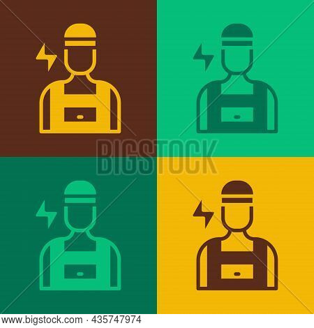 Pop Art Electrician Technician Engineer Icon Isolated On Color Background. Vector