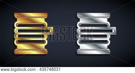 Gold And Silver Wire Electric Cable On A Reel Or Drum Icon Isolated On Black Background. Long Shadow