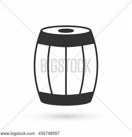 Grey Wooden Barrel Icon Isolated On White Background. Alcohol Barrel, Drink Container, Wooden Keg Fo