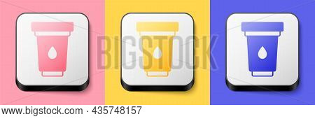 Isometric Water Filter Cartridge Icon Isolated On Pink, Yellow And Blue Background. Square Button. V