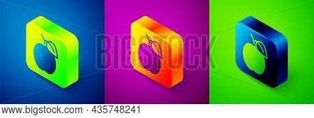 Isometric Plum Fruit Icon Isolated On Blue, Purple And Green Background. Square Button. Vector
