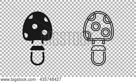 Black Amanita Muscaria Or Fly Agaric Hallucinogenic Toadstool Mushroom Icon Isolated On Transparent