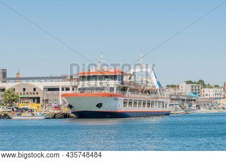 Uljin-eup, South Korea; September 19, 2021: Large Ocean Ferry Docked At Hupo Seaport.