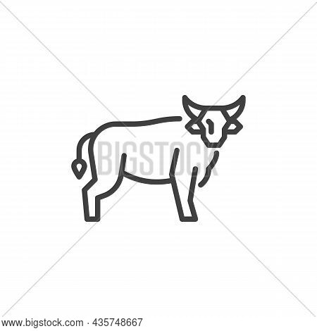 Bull Animal Line Icon. Linear Style Sign For Mobile Concept And Web Design. Horned Bull Outline Vect