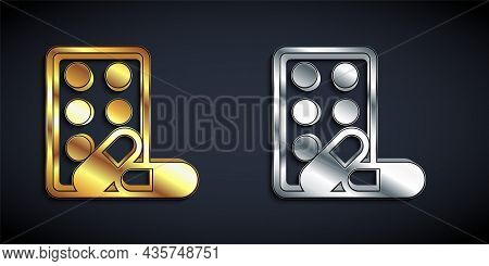 Gold And Silver Sports Doping, Anabolic Drugs With Dumbbell Icon Isolated On Black Background. Anabo