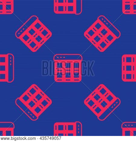 Red Online Shopping On Screen Icon Isolated Seamless Pattern On Blue Background. Concept E-commerce,