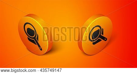 Isometric Magnifying Glass Icon Isolated On Orange Background. Search, Focus, Zoom, Business Symbol.