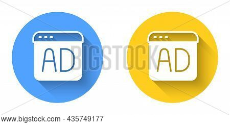 White Advertising Icon Isolated With Long Shadow Background. Concept Of Marketing And Promotion Proc