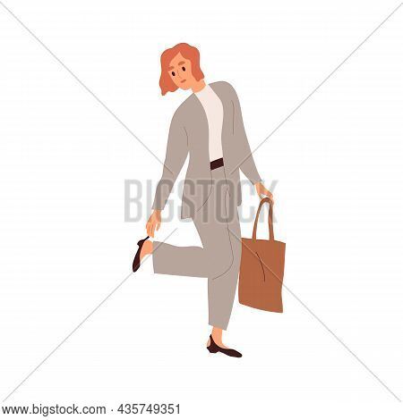 Woman Dressing For Work, Ready For Office. Employee Wearing Formal Suit, Putting On And Fixing Shoe.