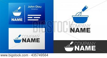 Logotype Cooking Whisk With Bowl Icon Isolated On White Background. Cooking Utensil, Egg Beater. Cut