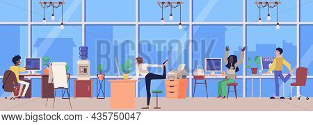 Office With People Interrupting Work On Sports Break, Flat Vector Illustration.