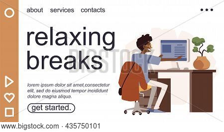 Relaxing Break During Work Time Concept Of Web Banner, Flat Vector Illustration.