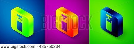 Isometric Punching Bag Icon Isolated On Blue, Purple And Green Background. Square Button. Vector
