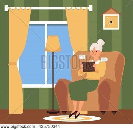 Senior Woman At Home And Using Electronic Tablet, Flat Vector Illustration.