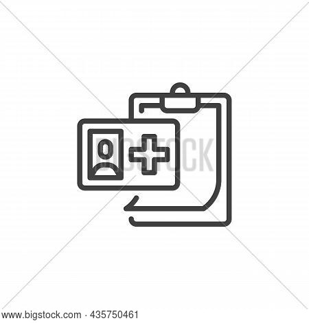 Medical Record Line Icon. Linear Style Sign For Mobile Concept And Web Design. Patient Record Outlin