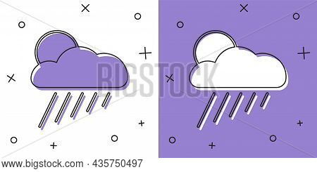 Set Cloud With Rain And Sun Icon Isolated On White And Purple Background. Rain Cloud Precipitation W
