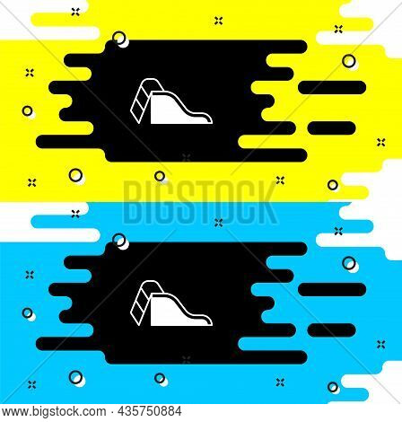 White Slide Playground Icon Isolated On Black Background. Childrens Slide. Vector