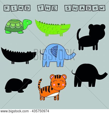 Worksheet Vector Design, Find The Shadow On Colorful  Tiger, Elephant, Turtle, Crocodile. Logic Game
