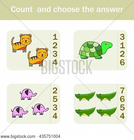 How Many Counting Game With Funny Forest Animal Turtles, Elephants, Tigers, Crocodiles. Preschool Wo