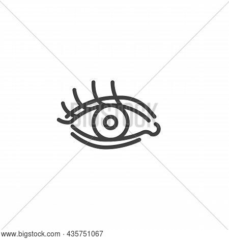Human Eye Line Icon. Linear Style Sign For Mobile Concept And Web Design. Eye With , Eyelashes Outli
