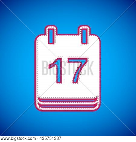 White Saint Patricks Day With Calendar Icon Isolated On Blue Background. Date 17 March. Vector