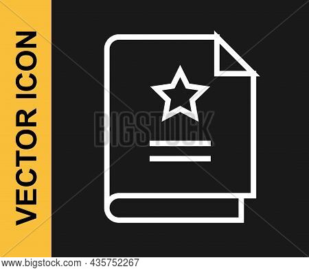 White Line Scenario Icon Isolated On Black Background. Script Reading Concept For Art Project, Films