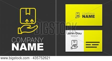 Logotype Line Delivery Hand With Cardboard Boxes Icon Isolated On Grey Background. Door To Door Deli