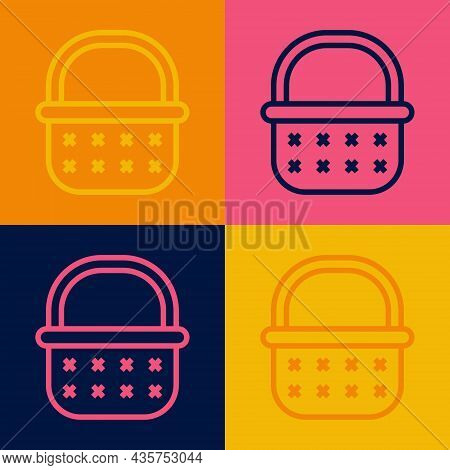 Pop Art Line Wicker Basket Icon Isolated On Color Background. Vector