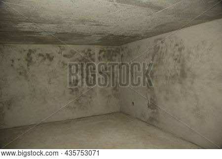 An Empty, Concrete Bomb Shelter, Nuclear Fallout Shelter Built Under The House. Inside An Undergroun