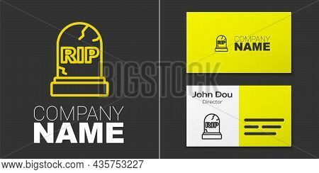 Logotype Line Tombstone With Rip Written On It Icon Isolated On Grey Background. Grave Icon. Happy H